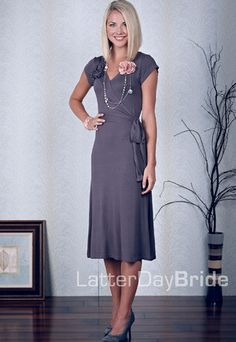 Grey wrap dress. So pretty, looks comfy, and it would work with nursing :)