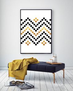 Cross Stitch Pattern Black and Gold Pattern by NordicPrintStudio