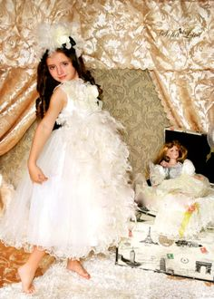 French Sophistication Girls Lace Black & Creme Feather Couture Tutu Dress and Hair Accessory