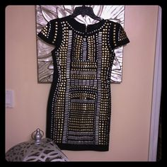 Studded stretch dress Brand new with tag Studs are not metal but a light acrylic like!! Stunning and even better live!! Dresses Mini