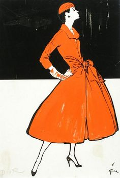 Old school drama created from this gorgeous dress coat  - Christian Dior illustrated by René Gruau, 1955.