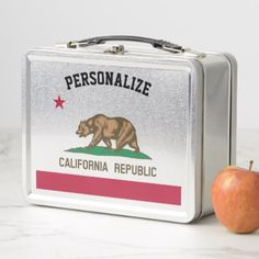 California Republic flag custom metal lunchbox - kitchen gifts diy ideas decor special unique individual customized