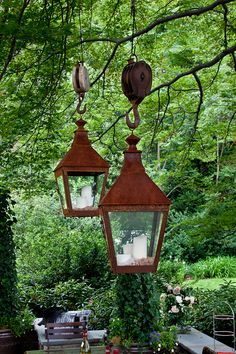 love the lanterns rustic look but the pullies its attached to are a little overkill! lol But very interesting!