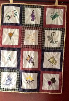 Embroidery and homespun wall hanging