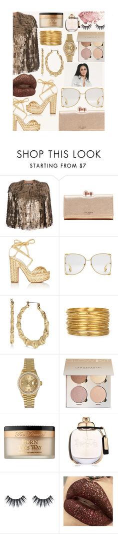 """""""GOLDEN GANG$TA"""" by oliviasmiith ❤ liked on Polyvore featuring Salvatore Ferragamo, Ted Baker, Alchimia Di Ballin, Gucci, Betsey Johnson, Rolex, Too Faced Cosmetics and Coach"""