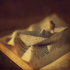 """'bless my sponge bath' © zev (13 y/o PhotoArtist, USA) aka fiddle oak, via Flickr.  """"bless my sponge bath"""" is a quote from the book 'Tom Swift and his Submarine Boat.' PhotoArt, Origami, Boat, Self-Portrait, Sea, Reading. Asea in a good book :-)"""