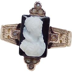 Victorian Ring 10K Rose Gold Hard Stone Cameo & Seed Pearl