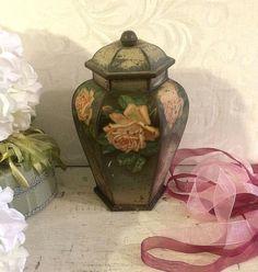 Gorgeous Antique Biscuit Tin Pretty PATINA, Black Vase, Pink Roses, Carr Carrs, Antique Tin Box, Figural Tin, Art Nouveau Vase
