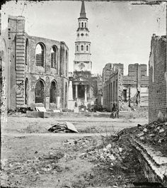 """April 1865. Charleston, South Carolina. """"St. Philip's Church with ruins of Circular Church and Secession Hall."""" Casualties of the Great Fire of 1861."""