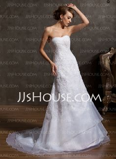 Wedding Dresses - $189.99 - A-Line/Princess Sweetheart Court Train Organza Wedding Dress With Lace Beadwork (002014920) http://jjshouse.com/A-Line-Princess-Sweetheart-Court-Train-Organza-Wedding-Dress-With-Lace-Beadwork-002014920-g14920