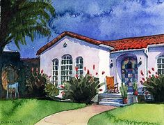 Watercolor: 275 Orange (Coronado, CA) - Original Fine Art for Sale - © Belinda Del Pesco