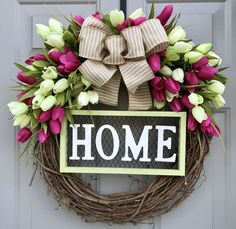 Home Tulip Wreath With Purple and White Tulips, Grapevine Wreath, Welcome Wreath