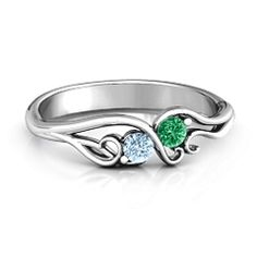 10K White Gold Swirl of Style Birthstone Ring #jewlr