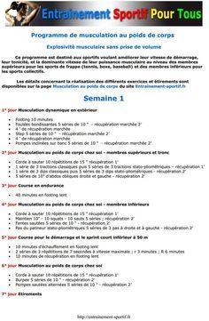 http://entrainement-sportif.fr/musculation-poids-de-corps.htm Semaine 1 du Programme de #Musculation au Poids de Corps pour l'Explosivité