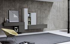 TV Wand Lampo L2-07 -  Möbel / Wohnzimmermöbel / Möbel für Unterhaltung & Medien -  Mit der Wohnzimmerwand des Typs Lampo L2-07 kommt nun eine Variante  für den klassischen und schlichten Geschmack.Dies wird deutlich durch klare Linien und dezente Farbgestaltung in Ferro Grau und Bianco 10 Weiß.Wieder sind die hängenden Lowboard-Elemente ausschlaggebend in der Kombination mit den...