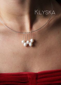 Pearls  silver Jewellery Set necklace and earrings gift by Klyska, €29.00  Love this! Simple and beautiful!