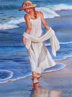 Vonnie Whitworth - Virginia Artist of Realistic Watercolor Paintings Painting People, Woman Painting, Figure Painting, Beach Art, Beautiful Paintings, Painting Inspiration, Cool Drawings, Female Art, Art Girl