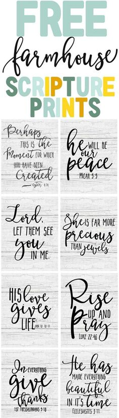 Free Farmhouse Scripture Printables - Th. - Free Farmhouse Scripture Prints-Bible verse printable art-farmhouse decor ideas-www. Printable Bible Verses, Scripture Art, Printable Art, Free Printables, Printable Lables, Bible Verse Signs, Bible Art, Photoshop, Do It Yourself Inspiration