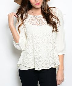 Look what I found on #zulily! White Lace Cutout Top by Shop the Trends #zulilyfinds