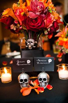 Skull escort card holders for Halloween wedding