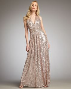 Badgley Mischka Gold Sequined Halter Gown jaglady