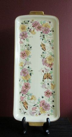 """Artist Signed ANTIQUE 1920 ZSOLNAY HAND PAINTED 16"""" TRAY RAISED FLORAL BUTTERFLY"""