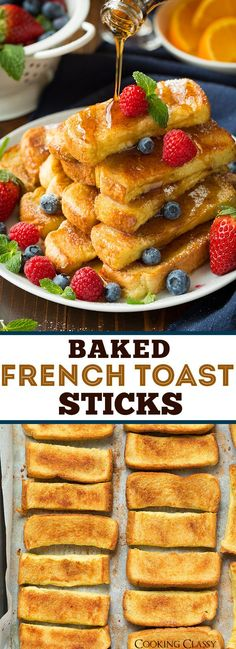 Baked French Toast Sticks. Brunch.