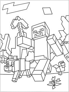 Printable Minecraft World coloring page.