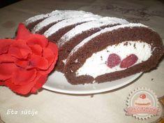 Túrós-epres tekercs Eta módra Tiramisu, Cake, Ethnic Recipes, Food, Biscuit, Kuchen, Essen, Meals, Tiramisu Cake