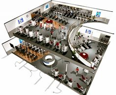 Fitness centers are all the craze, exercising not only boosts your brainpower, but is also a stress reliever. With a General Steel building, your fitness center will be functional and a thing of beauty for any fitness fanatic. Club Design, Spa Design, Gym Plan For Women, Gym Architecture, Gym Plans, Gym Center, Gym Club, Gym Interior, Interior Design