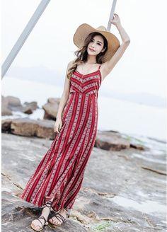 26e690f90 Summer Maxi Dress Backless Boho Chic Women's Beach Dress Red Spaghetti  Bandage Holiday Sexy Female Dresses