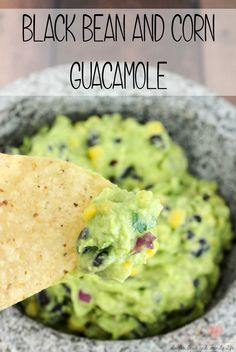 Black Bean and Corn Guacamole is delicious anytime as a Mexican appetizer, tortilla chip dip, healthy snack dip or taco topping. You can easily make this Mexican dish at home in less than five minutes. - Black Bean and Corn Guacamole Recipe on Sugar, Spice and Family Life