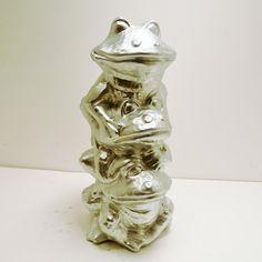 frogs garden statue  //  metallic silver  //  ceramic by nashpop, $24.00