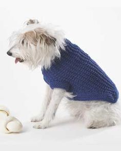 Knit this dog coat for your favorite pup. Shown in Bernat Super Value.