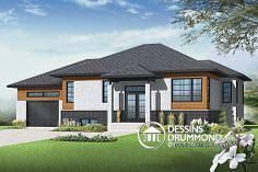Discover the plan - Lotus 3 from the Drummond House Plans house collection. Affordable Contemporary 2 bedroom split level house model with one-car garage, open concept, kitchen island. Total living area of 1223 sqft. House Plans Uk, House Plans One Story, Modern House Plans, Modern House Design, Modern Contemporary Homes, Modern Homes, Contemporary Windows, Bungalow Haus Design, Drummond House Plans