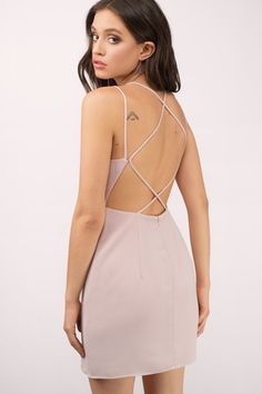 Sexy Blush Bodycon Dress - Criss Cross Dress - $50.00