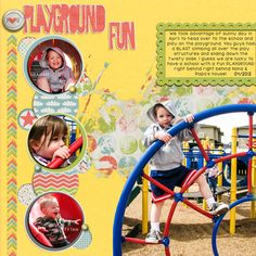"""""""Playground Fun"""" from the gallery at Real Life Scrapped.  A Day in April 2012, when we took Graham, Emma, and Tytan to the school behind our house to play on the playground. The kids love to walk over to the school to play on the slide, swings, and climb around. Fun Times! ALL KITS FROM APRIL CO. STASH at Pixels and Company.  **Credits: Just Jaimee-Playground Papers, Journal Cards, Essential Elements, Frames, Brushes and Stamps."""