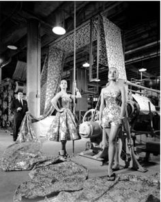 Alfred Shaheen with prints and designs, 1950s