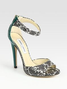 Every girl needs a pairs of Chooooo's! Jimmy Choo Trinity Snakeskin and Patent Leather Sandals