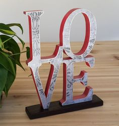 LOVE Sign, Stacked Letters, Word Art Letters for Table Top, Mantle or Shelf...................Free US Shipping