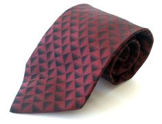 Croft & Barrow Neck Tie Burgundy Black Geometric 100% Silk #CroftBarrow #NeckTie