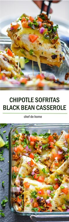 Chipotle Sofritas and Black Beans Casserole A hearty Mexican-style Black Beans Casserole with Chipotle Mexican Grill's copycat tofu sofritas, beans, cheese and salsa.