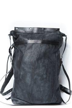 leather travel rucksack 078Y - dark blue