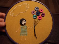 Flapper face embroidery
