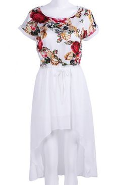 White Short Sleeve Floral Bandeau High Low Dress #SheInside