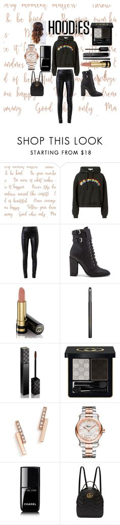 """""""Hoodie"""" by veronicakaira on Polyvore featuring RE/DONE, Helmut Lang, Schutz, Gucci, Zoë Chicco, Chopard, Chanel, chic, black and Hoodies"""