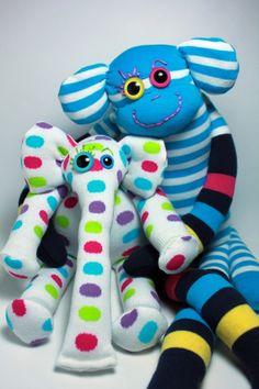 Gus and Ollie Handmade toys :)  Sock-e-phant Trilby & Sock Monkey Sancho!