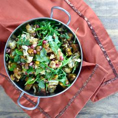 Roasted Cauliflower & Squash Salad with Arugula & Pomegranate Seeds (from Cara's Cravings)