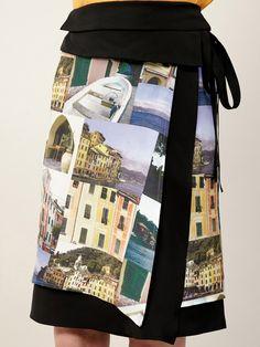 Lafayette 148 New York  Charming Silk Layered Wrap Skirt