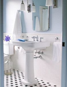 bead board, pedestal sink